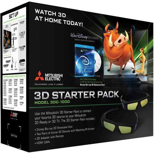 MITSUBISHI DLP TV 3DC1000 or 3DA1 complete kit with remote,cables, manuals, Glasses(4) and Emitter