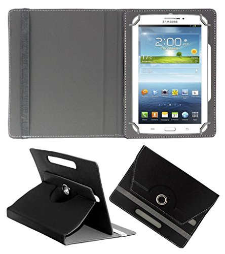 Acm Rotating 360° Leather Flip Case For Samsung Galaxy Tab 3v T116 Tablet Stand Cover Holder Black