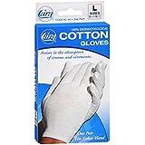Cara 100% Dermatological Cotton Gloves, Sizes 8-1/2 - 9-1/2, Large - 1 Pair/ pack