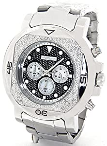 JOJINO Real Diamond Watch Mens Deluxe Silver Tone Case Metal Band MJ-1225