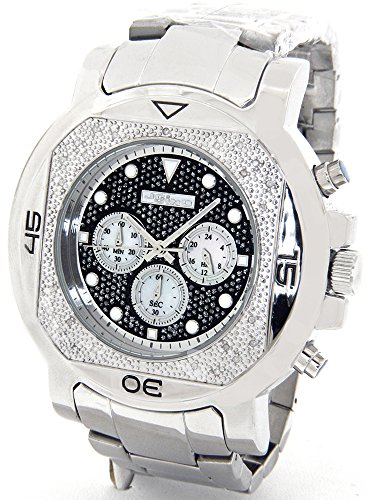 b45cc5f364d JOJINO Real Diamond Watch Mens Deluxe Silver Tone Case Metal Band MJ1225A