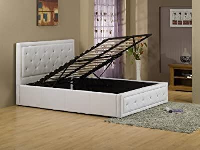 Hollywood Crystal White 5ft Kingsize Ottoman Gas Lift Bed faux leather