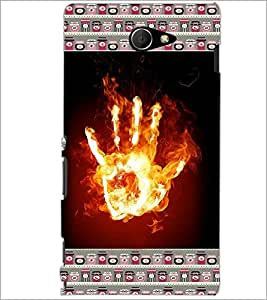 PrintDhaba Flamming Hand D-4643 Back Case Cover for SONY XPERIA M2 (Multi-Coloured)