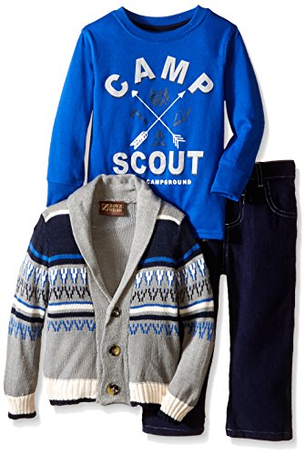 BoyzWear Little Boys' 3 Piece Camp Scout Cardigan Set, Navy, 3T