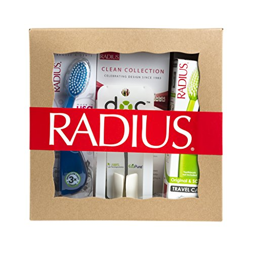 RADIUS Toothbrush with Travel Case and the DOC Toothbrush/Razor Holder Gift Set, Original Right Hand, Variety Pack, Colors May Vary