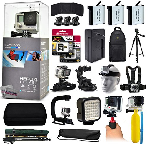 47th Street Photo discount duty free GoPro Hero 4 HERO4 Silver CHDHY-401 with 128GB Memory + 3x Batteries + Travel Charger + Backpack + 60? Tripod + Head/Chest Strap + Suction Cup + Hand Glove + LED Light + Stabilizer + Case + More!