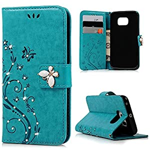 Galaxy S6 Edge Wallet Case - Mavis's Diary 3D Handmade Bling Crystal Diamonds Butterfly Fashion Floral PU Leather with Hand Strap Magnetic Clasp Card Holders for Samsung Galaxy S6 Edge from Mavis's Diary