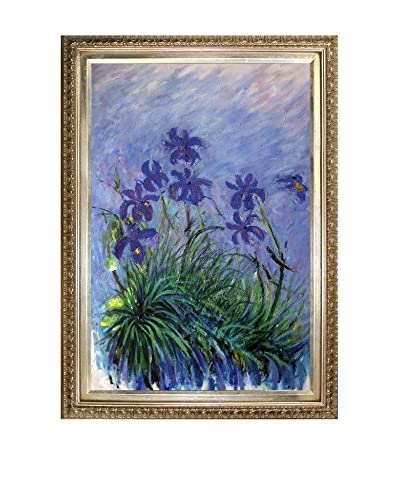 Claude Monet Lilac Irises Framed Hand-Painted Oil Reproduction