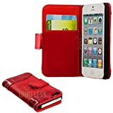 myLife (TM) Rose Red - Crocodile Design - Textured Koskin Faux Leather (Card and ID Holder + Magnetic Detachable Closing) Slim Wallet for iPhone 5/5S (5G) 5th Generation iTouch Smartphone by Apple (External Rugged Synthetic Leather With Magnetic Clip + Internal Secure Snap In Hard Rubberized Bumper Holder)