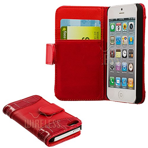 Mylife (Tm) Rose Red - Crocodile Design - Textured Koskin Faux Leather (Card And Id Holder + Magnetic Detachable Closing) Slim Wallet For Iphone 5/5S (5G) 5Th Generation Itouch Smartphone By Apple (External Rugged Synthetic Leather With Magnetic Clip + In