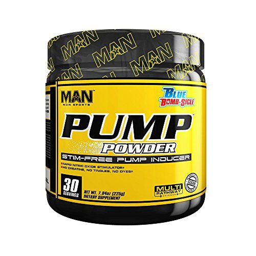 MAN Sports Pump Powder Stim-Free Pre-Workout Supplement, Blue Bomb-Sicle, 225 Gram