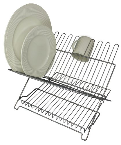 Better Houseware 1483 Junior Folding Dish Rack, Metallic