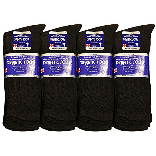 Falari Diabetic Socks Men Unisex Size 10-13 Black 3 Pairs