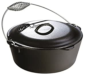 Lodge L10DO3 Dutch Oven with Spiral Handle Bail and Iron Cover, 7-Quart