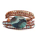 LoyaHyeok Multi-Layer Chain Wrap Bracelet Leather Bead Bracelet Adjustable Handmade Woven Natural Stone Statement for Women