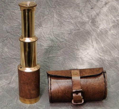 Telescope Nautical Decor Brass Finish With Buckled Leather Pouch