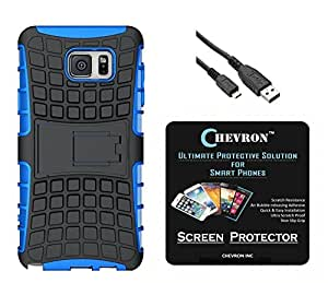 Chevron Hybrid Military Grade Armor Kick Stand Back Cover Case for Samsung Galaxy Note 5 with HD Screen Guard & Lightning Data Cable (Royal Blue)