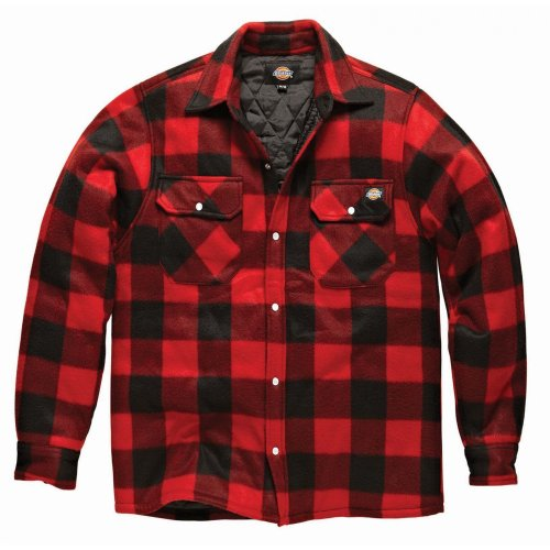 Dickies - Camicia a Quadri Maniche Lunghe - Uomo (L) (Rosso)