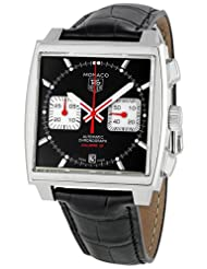 Men's Stainless Steel Monaco Black Dial Leather Strap Chronograph