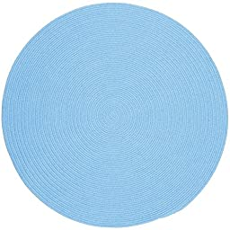 Blue Rug Braided Solid Color, 4-Foot Round Soft Kids/Nursery Carpet