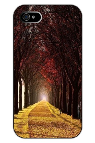 Sprawl Iphone 4S Case Scenic Clear Print Charm Tree Road Hard Plastic Snap On Uniqe Design