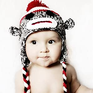 Handmade baby sock monkey hat - fits 6 to 12 months baby