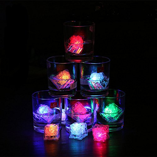 Goshopping Party Decorative Ice Cubes Light - [12 Pcs ] Multicolor Water Submersible LED Liquid Sensor Light for Wedding Party Bar Club Champagne Tower Holiday Decoration (12 Pack, Cube) (24 PCS)