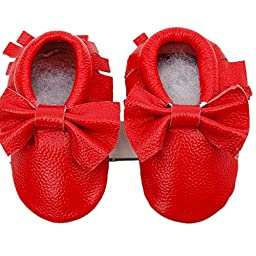 Voberry® Baby Moccasins Bow Shoes Newborn Firstwalker Anti-slip Leather Infant Shoes (S, Red)