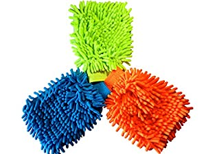 Kleanness Microfiber Wash Mitt - 3-pack - Dynamic Microfiber car Cleaning Cloth Dusts, Washes, and Cleans Your Home, kitchen, bathroom, and car.