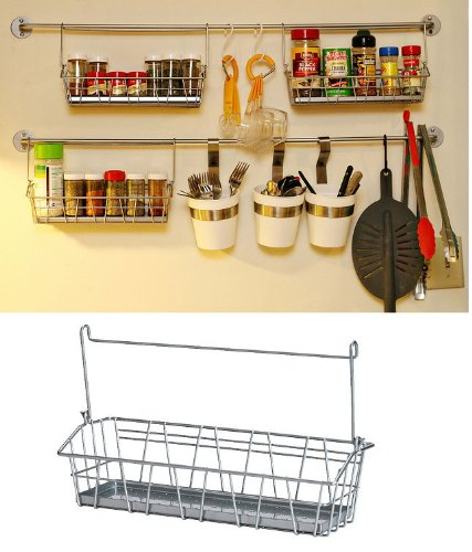 Ikea steel wire basket spice rack hang or free standing Ikea hanging kitchen storage