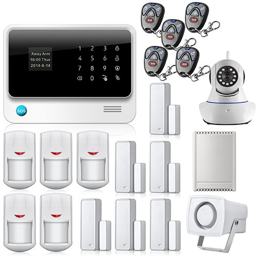 Golden Security Touch screen keypad LCD display WIFI GSM IOS Android APP Wireless Home Burglar Security Alarm System + HD IP Camera