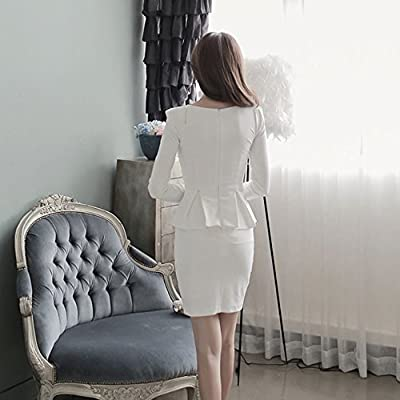 Spritech(TM) Women's Sexy V-necked Fake Work Dress Elegant Long Sleeve Bodycon Pencil Skirt for Work Party Everyday Wear