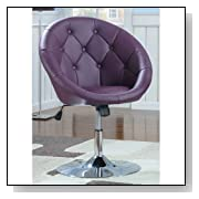 Round-Back Vinyl Purple Swivel Chair