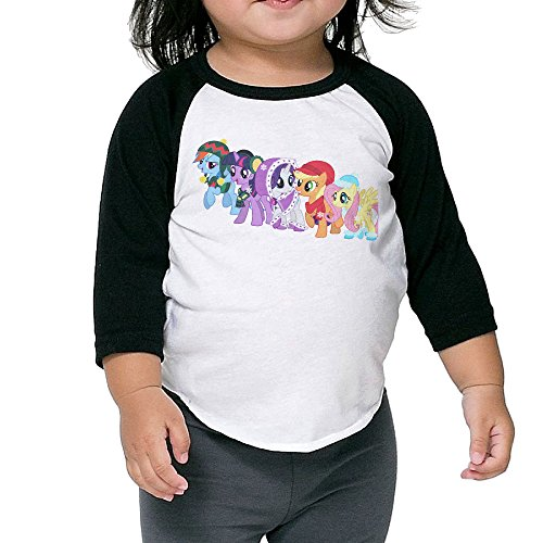 Kid's My Little Pony Friendship Is Magic 3/4 Raglan Sleeves Baseball Tee Shirt Jersey For Boys And Girls Age Of 2 - 6 Years Old Black 5-6 Toddler (Russell Wilson Rangers Jersey compare prices)