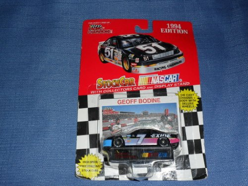 1994 NASCAR Racing Champions . . . Geoff Bodine #7 Exide Batteries Ford Thunderbird 1/64 Diecast . . . Includes Collector's Card and Display Stand - 1