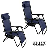 BELLEZZA© Zero Gravity Chair Recliner Patio Pool Chair Cup Holder, Utility Tray (2 PACK) - Navy Blue
