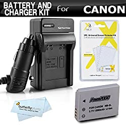 Battery And Charger Kit For Canon PowerShot S100 SX230HS SX-230HS SX210IS SX200IS SD990IS SD970IS SD950IS SD900 SD890IS SD880IS Includes Replacement NB-5L Extended Battery + Ac/Dc Charger + MicroFiber Cleaning Cloth + LCD Screen Protector + More