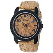 Sprout Men's ST/7009CKCK Black Corn Resin Case Cork Dial and Strap Watch