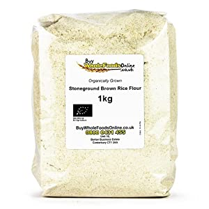 Organic Brown Rice Flour Stoneground 1kg from Buy Whole Foods Online Ltd.