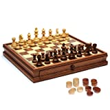 Staunton Chess & Checkers Set - Weighted Pieces & Wooden Board with Storage Drawers 15 in.
