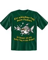 Geburtstag Party Fun T-Shirt für Angler bedruckt / Schlechter Tag beim Fischen !