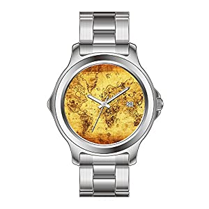 FYD Watch Man's Fashion Stainless Steel Band Watch Vintage Old World Map History-Buff Wristwatch