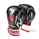 Flexzion Training Boxing Gloves Grappling UFC Sparring Fight Punch Ultimate Sandbag Heavy Bag Mitts 16oz Sports Fitness Exercise Equipment in Black Red for Adult Men Women