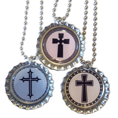Decorative Crosses - Christian Bottlecap Necklaces - Set of 3