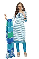 PShopee White & Sky Blue Cotton Printed Unstitched Salwar Suit Dress Material