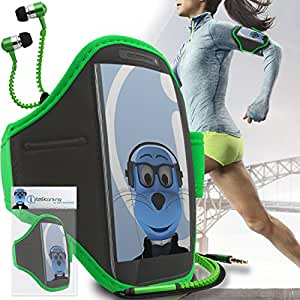 Green Black Adjustable Sports GYM Jogging Running ArmBand Case Cover with 3.5mm Zip Style Headphones For Philips W820