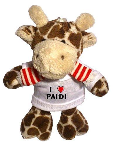 Plüsch Giraffe Schlüsselhalter mit T-shirt mit Aufschrift Ich liebe Paidi (Vorname/Zuname/Spitzname)