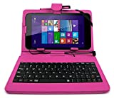 DURAGADGET Deluxe Pink Keyboard Folio Case for the NEW Linx 7-inch Tablet - Eco-Friendly Faux Leather with Built-In Stand and FREE Stylus