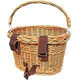 Colorbasket 01594 Adult Front Handlebar Wicker Bike Basket with Handle, 3 Velcro Straps