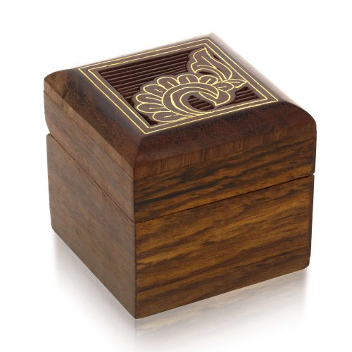 Wooden Jewelry Box Small for Rings Earrings Toe Rings Cufflinks Gifts 2 x 2 x 2 Inches